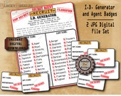 Spy Secret Agent I.D. Digital Set MURDER MYSTERY Detective Party Props ~ 2 Printable JPGs ~  Name Generator Badges Escape Room Game Mission