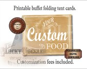 BUFFET TENT CARDS Personalized Printable Set ~ 8 Aged Custom Food Bar Labels ~ Boho Outdoor Country Barn Wedding Thanksgiving Fall Party