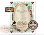 "Alice Birthday Girl Printable JPG Sign ~ Aqua Steampunk Wonderland Looking Glass Mad Hatter ""Leave Wishes"" ~ Hats, Drink Me, Cakes, Eat Me"