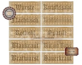 "OKTOBERFEST Foods Printable Sign Set JPG ~ 10 German Aged Ivy Black Harlequin Buffet Label & Directional 4X11"" Banners ~ Wurste, Sauerkraut"