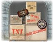 5 Pdfs ESCAPE ROOM PARTY Crate Labels ~ Spy Secret Agent Detective Murder Mystery Props, Printable Decor ~ Evidence, Top Secret, Classified