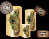 Peacocks Art Nouveau Candle Wrap Steampunk Printable Table Centerpiece Party Wedding Decor Green Purple Prohibition Speakeasy Gatsby Theme