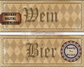 "OKTOBERFEST Printable Sign JPG Set ~ 2 German Aged Ivy Black Harlequin Directional 4X11"" Banners ~ Bier, Wein Beer and Wine Party Signs"