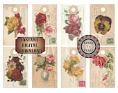 Post Card Hang Tags Printable JPG ~ Salvaged Victorian Scrap Roses Pansies Flowers Vintage 1912 Postage Stamp Images ~ Note Cards Labels