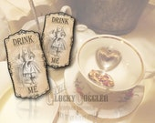 Alice's DRINK ME Label Printable JPG Sheet ~ 6 Large Victorian Vintage Water Bottle, Tea Pitcher, or Soda Party Decorations ~ 2.5 X 4.75""