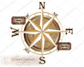 Compass Rose Sublimation 5 Files svg, pdf, png, eps, dxf ~ Weathered Center Gold Points Directions ~ Nautical Ship Pirate Wall Ceiling Art