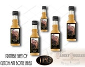 "12 CUSTOM PHOTO & DATE Bottle Labels Printable jpg ~ Personalized Mini Liquor Shot Bottle Gatsby Prohibition Wedding ~ ""Drink on Us. Thanks"""