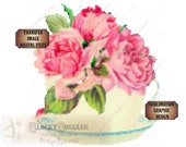 "Rose Teacup Bouquet SVG Clip or Pixel Art Patchwork Needlepoint Cross Stitch Style Image~ Pdf, Png, Eps, Dxf ~ 8X8"" Victorian Scrap Cutting"