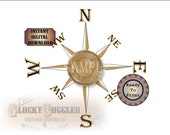 "Compass Rose Printable Kit on 3 JPGs ~ Weathered 8"" Center, Gold Points &  Directions ~ Nautical Ship Pirate Style Aged Wall Ceiling Art"