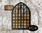 Gothic Window Printable Scene Setter Halloween Decoration Photo Booth Prop ~ PDF File Creepy Church, Haunted Castle, Old Abandoned Building