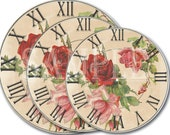 Set of Rose Clock Faces Printable Distressed Shabby Digital Files 8 12 and 24 Inches Roman Numerals Wall Art Craft Project Seller Supply