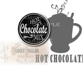 Hot Chocolate MIX Printable Sheet 12 Mason Jar Lid Labels~ 3 Files ~ Single PNG Image ~ Fall or Christmas Party, Winter Wedding Favor Tags