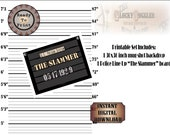 "Mug Shot Photo Booth Printable 3 File Set 30X36"" Police Line Up Backdrop & THE SLAMMER Board Roaring 20s Speakeasy Prohibition Gatsby Party"