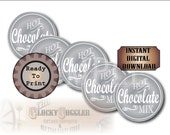 Silver Hot Chocolate Mix Printable CHRISTMAS Sheet 12 Jar Lid Labels~ 3 Files ~ Single Tag PNG ~ Holiday Party, Winter Wedding Favor Tags