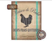 Aqua French Grain Sack Printable JPG ~ Shabby Fabric Texture Download ~ Maison de Poulet Oeufs Frais Quotidiens ~ Chicken House Fresh Eggs