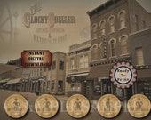 "30 Saloon 3"" Bottle Labels Printable DEADWOOD DOTTIE'S ~ 5 Jpg File ~ Wild West Party Barn Wedding Beer, Whiskey, Gin, Bourbon, Sarsaparilla"