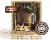 12 Hidden Objects Game Escape Room Printable Sheet ~ 2 JPG Files ~ Aged Paper ~ Round Forest Hut, Rabbit, Mouse, Rat, Bat, Cat, Bear, Robin