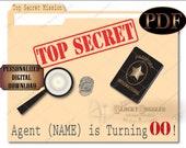 "CUSTOM Spy Secret Agent Birthday Party Sign PDF File ~ Escape Room Murder Mystery Decor Edited by Glocky ~ Manila Folder 11x14"" Top Secret"