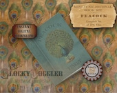 MINI BOOK Peacock Junk Journal Printable JPG Set ~ 5 Files ~ Complete Scrapbook Kit ~ Edwardian Art Nouveau Blue Green Aged Papers Clip Art