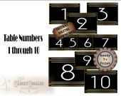 Art Deco Table Numbers Printable Digital Set ~ Roaring 20s Prohibition Gatsby Era Party Wedding Centerpiece Markers 1 to 10 Black Gold White