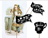 Chalk Art Style Alice Drink Me Labels Printable JPG Sheet ~ Flags and Tea Cups Victorian Party Decor ~ Black & White Heart, Pocketwatch