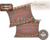 4th of July Pillow Box Printable 3 1/2 X 6 Party Favor Box Instant Download Victorian Era Indepencence Day Style Stars & Stripes Party Decor