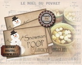 Snowman Poop TENT CARDS Printable Set ~ JPG Digital Download ~ 6 Aged Treat Bag Labels ~ Christmas Stocking Stuffer, Gag Gift, Party Tags