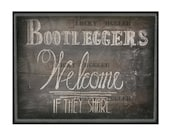 Chalkboard Booleggers Welcome Sign Printable Art ~ Roaring 20s Speakeasy Gangster 1920s Rustic Hand Drawn Print - Wedding Decor 8.5X11 JPG
