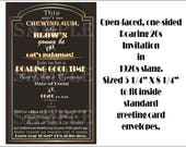 Custom Roaring 20s Slang Invitation Printable ~ Art Deco 1920s Black Gold White Open-Face 5 1/2 X 8 1/4 Digital Set ~ Wedding Invite & RSVP
