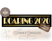 24X72 Inch Roaring 2020 Printable Banner ~ PDF File ~ New Year's Eve Party Decor ~ Art Deco Gold Black Gatsby Style Sign Instant Download