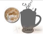 12 Pumpkin Spice Coffee Mason Jar Lid Labels Printable JPG and PNG Sheet, and Single PNG Image Halloween Fall Party Wedding Guest Favor Tag