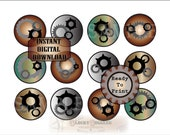 Gears & Cogs Circles Printable Stickers Envelope Seals Junk Journal Scrapbook Steampunk~ 12 Copper Steel Industrial Style Victorian JPG