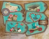 "6 Steampunk Hang Tags Printable JPG File ~ Victorian Scrap Rose Aqua ~ 2.5 X 5"" Worn Velvet Aged Price, Gift, Jewelry Cards ~ Paris, Airship"