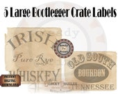 5 Booze Crate Labels Printable Roaring 20s Party Decor ~ Prohibition Speakeasy Gatsby Wedding Rye Whiskey, Bourbon, Gin, Ale, Home Brew PDFs