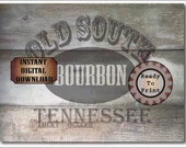 "TENNESSEE BOURBON Crate Label 16x12"" PDF ~ 1 Weathered Pirate Bootlegger Prohibition Speakeasy Old West Roaring 20s Shipping Box Decoration"