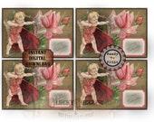 "Valentine Cards Printable JPG File Junk Journal Tag, Jewlelry Cards 3.5x5"" Victorian Scrap Roses Cupid ""To My Valentine"" Vintage Postcard"