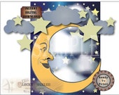 Paper Moon Photo Booth 3 PDF Set ~ Printable Art Nouveau Navy Blue Wedding Selfie Station ~ Star Cloud Sky Backdrop ~ Man in the Moon Prom