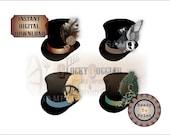 Steampunk Top Hats Printable JPG Clip Art Stickers Envelope Seals Scrapbook Junk Journal Smash Book ~ Clocks, Rabbit, Feather, Flowers, Gear