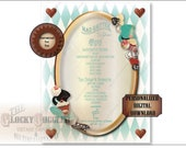 Alice Tea Party CUSTOM MENU FILE ~ Aqua Steampunk Alice's Adventures in Wonderland Mad Hatter ~ Tea, Hats, Macarons, Drink Me, Eat Me Cakes