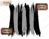 BRUSH STROKES Sublimation Background PNG File Transparent Back ~ Black Gray Transfer Image Design Effect ~ Digital Download Clip Art