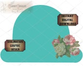 Rosy Bowler Hat Sublimation Transfer Image & Cutting ~ 5 Files ~ svg, pdf, png, eps, dxf Turquoise Boho Wedding Printable Victorian Derby