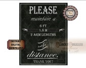 SAFE DISTANCE Social Distancing Sign Printable jpg ~ Please, Thank You. Two Arm Arrows. 6ft, 1.8m, 2 arm lengths ~ Business, Restaurant, Bar