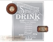 Custom SIGNATURE DRINK Sign Printable Personalized Recipe Silver White Traditional Wedding Event Party Decor ~ JPG File ~ 8X10 Food Bar Art