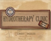 HYDROTHERAPY CLINIC Asylum Printable Sign Party Prop ~ JPG Digital File ~ Halloween Door Decoration ~ Created Historical Ephemera Download