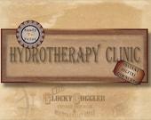 HYDROTHERAPY CLINIC Asylum Printable Sign Party Prop ~ JPG Digital File ~ Halloween Door Decoration ~ Created Historical Ephemera Download