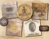 "5 Women Bootlegger Crate Labels Printable 8X8"" Aged Grunge Paper Prohibtion Speakeasy ~ Hooch, Shine, Bier, Whiskey, Bathtub Gin JPG Files"