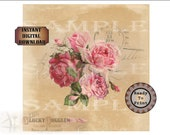 "Soap Gift Wrap Printable Sheet ~ Pink Roses Aged Paper Postage Mark Wrapping Paper JPG Download ~ 8"" Square Bar Packaging ~ Vintage Floral"