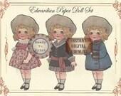 Paper Doll Set Printable Children's Party Favors ~ Junk Journal Embellishments ~ Party Game ~ Edwardian Vintage Toy ~ Hat Dresses Shoes Coat