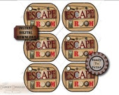 6 Potato Crisp Labels ~ ESCAPE ROOM PARTY Chips Singles Lid Printable jpg~ Aged Paper Clock, Gear, Key, Lock, Magnifying Glass, Fingerprint