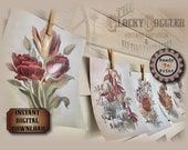 "5 Botanical Prints Aged Sheets Printable 8 X 10"" JPG Files ~ Water & Coffee Stained Junk Journal Scrapbook Wall Decor ~ Rose Mums Fuschias"